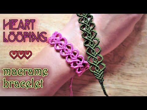 macramè - bracciale con cuori intrecciati