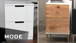 Turn a boring but functional white dresser into a chic piece for your home in just a few quick (and cheap!) steps. http://mode.com/mode-videoFor more videos like this, visit us on MODE: http://www.mode.com/mode-video Follow us on Twitter: http://twitter.com/modestoriesFriend us on Facebook: https://www.facebook.com/modestoriesCheck us out on Instagram: http://instagram.com/modestoriesGet inspired on Pinterest: http://www.pinterest.com/modestoriesAdd us to your circle on Google+: http://bit.ly/glam-googleplus