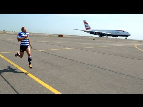 太瘋狂了!跑得比飛機快的男人!