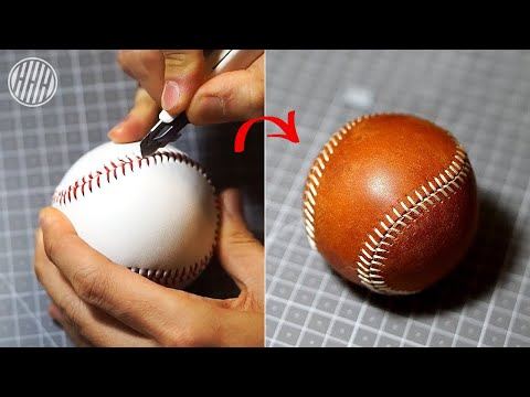 [Leather Craft] Replacing Baseball leather cover / Free Pdf Template