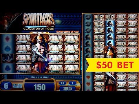 Spartacus Slot Machine Jackpot! $50 High Limit Bet Bonus Round!