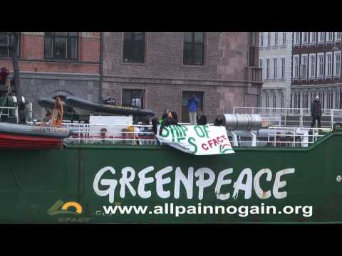 cfact - http://www.allpainnogain.org/ - Sign the petition! Activists tag Greenpeace Rainbow Warrior with Propaganda Warrior banner; Arctic Sunrise hit with Ship of L...