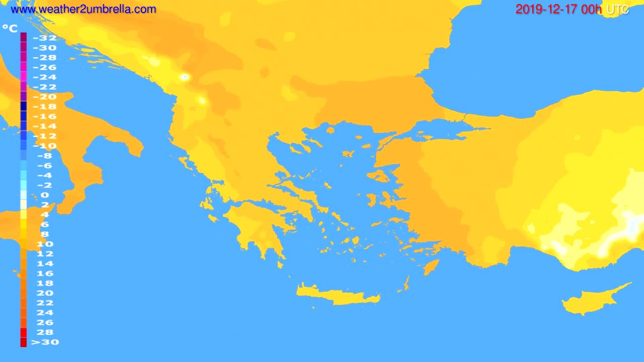 Temperature forecast Greece // modelrun: 00h UTC 2019-12-16