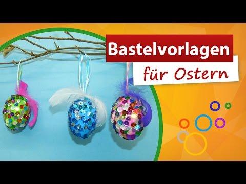 Bastelvorlagen für Ostern – Ostereier mit Pailletten verzieren