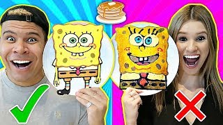 PANCAKE ART CHALLENGE!! Learn How To Make Spongebob Emoji DIY Pancake!