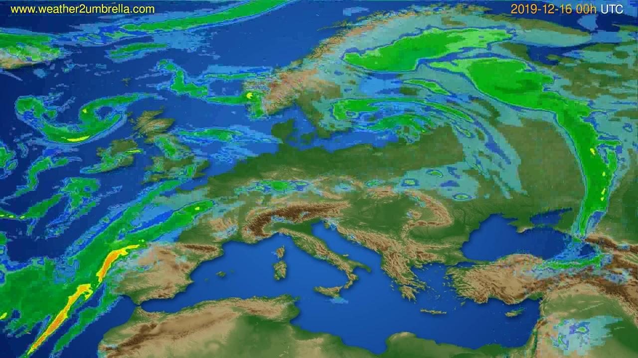 Radar forecast Europe // modelrun: 12h UTC 2019-12-15