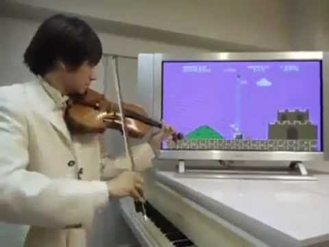 Dude Plays Super Mario Theme and Sound FX on His Violin...KEWELL!