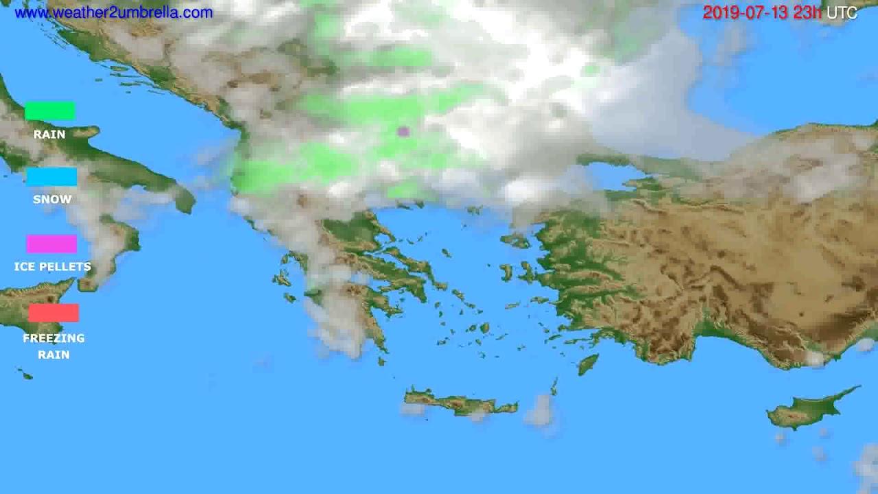 Precipitation forecast Greece // modelrun: 12h UTC 2019-07-10