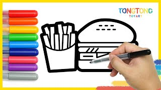 How to Draw Hamburger Coke French fries Pizza Icecream Coloring Pages for Kids Easy Simple