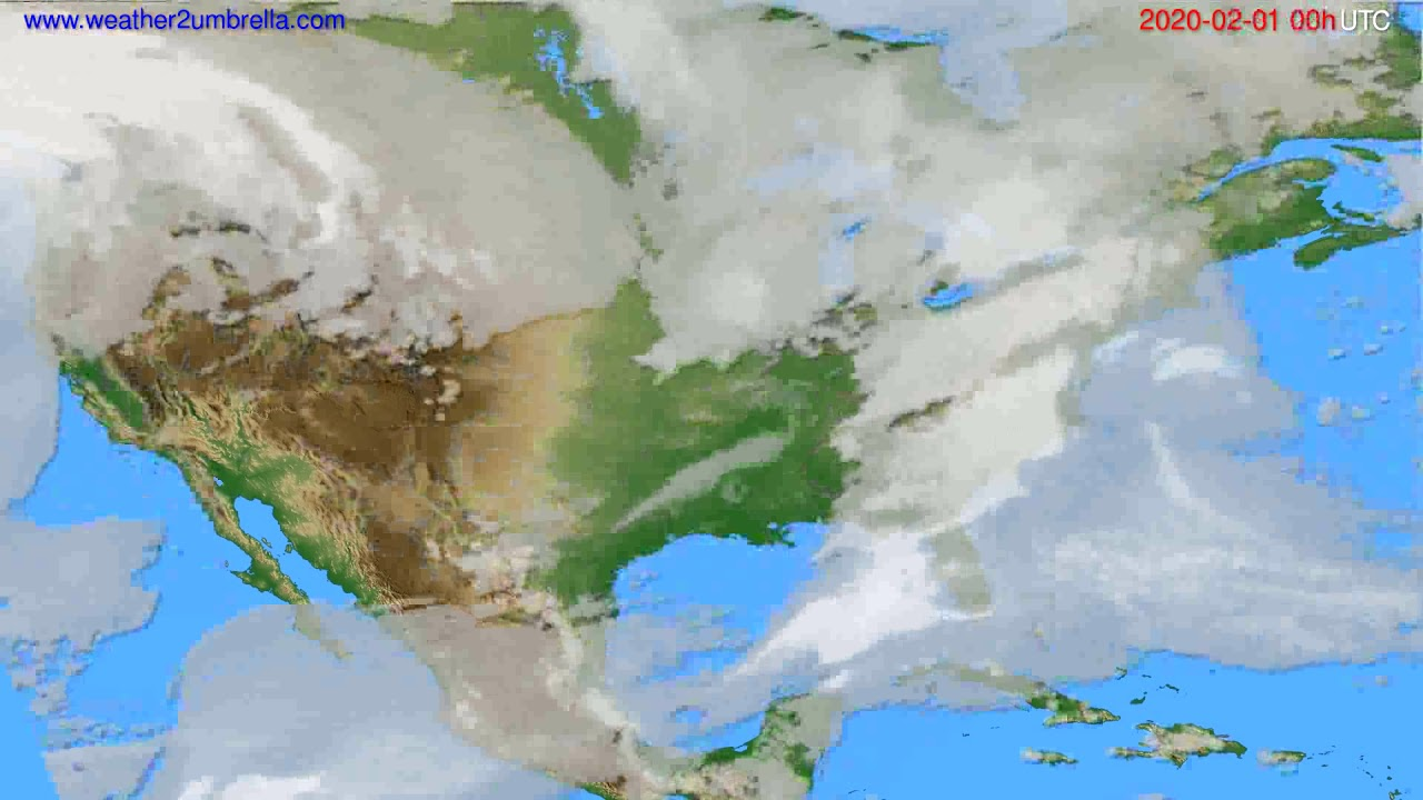 Cloud forecast USA & Canada // modelrun: 00h UTC 2020-01-31