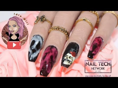 Gel nails - HOW TO DO GEL POLISH SMOKEY SKULL  ACRYLIC NAILS SMOKEY BLOOD  VLOGOWEEN DAY #17  IileGirl