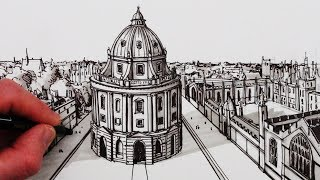 Learn How to Draw using 1-Point Perspective, narrated, step by step:Draw The Radcliffe Camera, Oxford, a pencil and pen drawing. SUBSCRIBE: http://www.youtube.com/circlelineartschool Watch Next: How to Draw Perspective Playlist: http://bit.ly/1QV3SsWThis 1-Point Perspective drawing is a drawing of a view of The Radcliffe Camera, which is a Neo-Classical building and part of the university of Oxford in the UK. The Radcliffe Camera was built in the mid 18th century as a library room. It was designed by James Gibbs.Here is Wikipedia page on the Radcliffe Camera:https://en.wikipedia.org/wiki/Radcliffe_CameraFor this drawing I use a 2B mechanical pencil, a black pen and a grey pen.I hope you LIKE, COMMENT & SUBSCRIBE: http://youtube.com/circlelineartschoolHow to Draw in 1-Point Perspective: Draw a Building: Draw The Radcliffe Camera Step by Step: Circle Line Art School: Episode 236The first step is to draw a horizontal line slightly higher than halfway up your page, next draw a across in the middle of this line, this will be the vanishing point for this one point perspective drawing, from this vanishing point, draw two diagonal lines to the left and then two diagonal lines to the right, and now in between the diagonal lines, draw an ellipse. This ellipse, a circle seen from the side, will be the circular base of the building. From this point, draw two more vertical lines at each end of your ellipse, then another ellipse at the top of these lines, to make a drum like shape. Next we can start to add smaller shapes and then details to the drawing.Circle Line Art School http://www.youtube.com/circlelineartschoolHi, my name is Tom McPherson and I founded Circle Line Art School as an online art education resource for all. My aim is to inspire people to learn to draw and be more creative.Please leave a comment to let me know what kind of drawing you would like to see next.You can follow me on:Facebook: http://facebook.com/circlelineartschoolInstagram: https://www.instagram.com/circlelineartschool/For weekly YouTube art videos: http://www.youtube.com/circlelineartschoolFor my website please visit: http://www.circlelineartschool.comThank you for your support and have a great day! Tom McPhersonCircle Line Art Schoolhttp://www.circlelineartschool.comMusic used in this art lesson:Gymnopedie No 1 by Kevin MacLeod is licensed under a Creative Commons Attribution licence (https://creativecommons.org/licenses/by/4.0/)Source: http://incompetech.com/music/royalty-free/index.html?isrc=USUAN1100787Artist: http://incompetech.com/How to Draw the Radcliffe Camera in 1-Point PerspectiveHow to Draw Buildings in PerspectiveCircle Line Art School