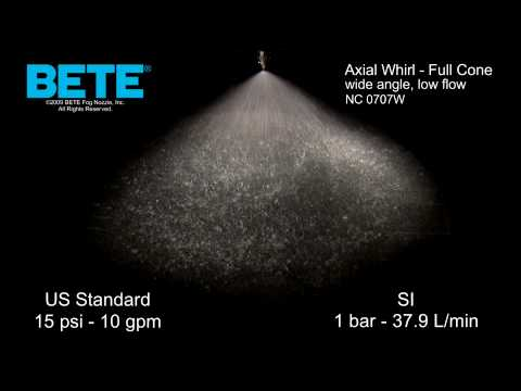 NC 0707W - Wide Angle, Low Flow Full Cone Axial Whirl Spray Pattern Video