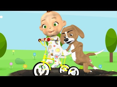 Funny Pup Tricycle in Puddle  Funny Animals Toddlers Nursery Rhymes