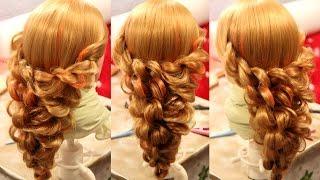 Коса ажурная из двойных жгутов на резинках