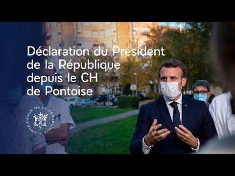 Déplacement du Président Emmanuel Macron au centre hospitalier René-Dubos de Pontoise dans le Val-d'Oise.