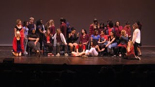 """Youth put on an original devised performance centered on the theme of what it means to be American, using Langston Hughes poem """" I, Too, Sing"""" as a source. This program was recorded by Chicago Access Network Television (CAN TV)."""