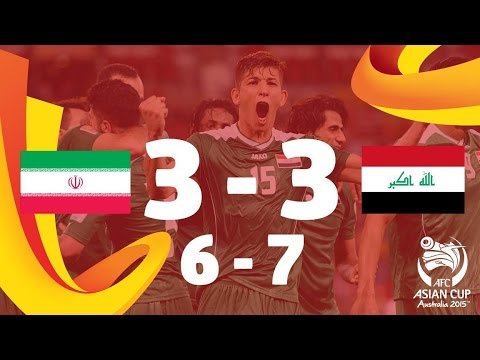 Iran - Iran 3-3 Iraq. AET (6-7 on Penalties): Salam Shakir scored the winner as Iraq claimed a place in the semi-finals of the AFC Asian Cup Australia 2015 after edging out arch-rivals Iran 7-6 on...