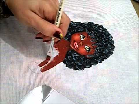 Pintura em tecido - Boneca Marli - Como pintar boneca negra 2/2 - how to paint black doll