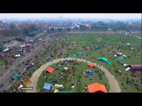 Army drone flies over battered Kathmandu