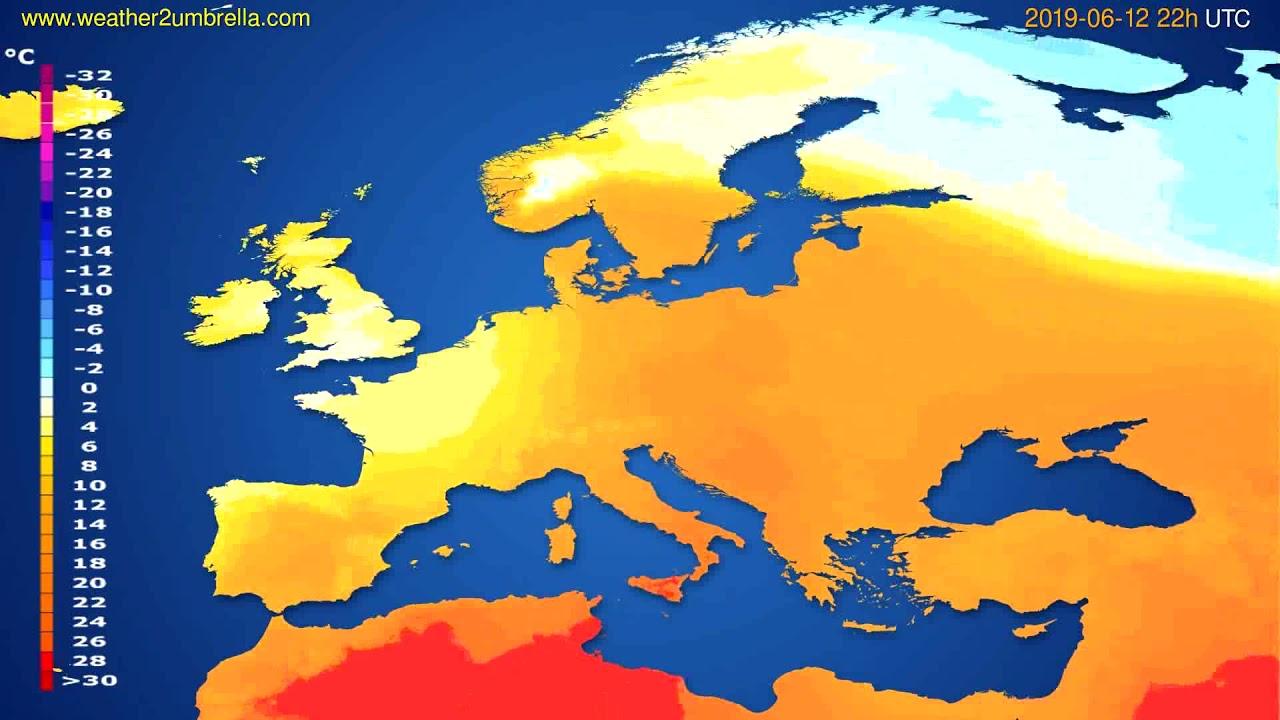 Temperature forecast Europe // modelrun: 00h UTC 2019-06-10
