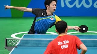 Tênis de Mesa Jun Mizutani vs Xu Xin excelente jogo na final de equipes nas Olimpíadas do Rio de Janeiro