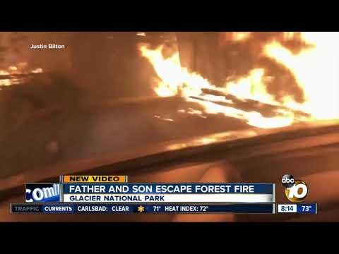 Father and Son escape fix forest fire, Glacier National Park Montana (видео)