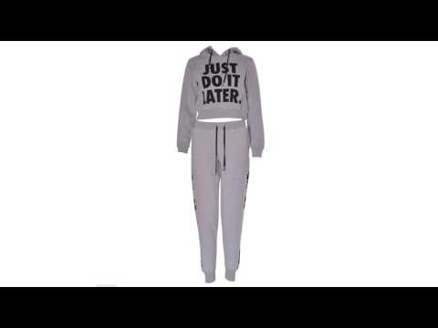 Women Ladies Just Do It Later Print Crop Hooded Tracksuit Trouser Hoodie Bottom by Fashions Angel