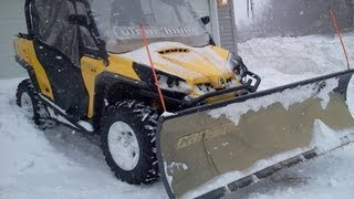 5. Plowing Snow With Can-Am Commander 1000 - Winter Storm Nemo -  Maine Blizzard 2013