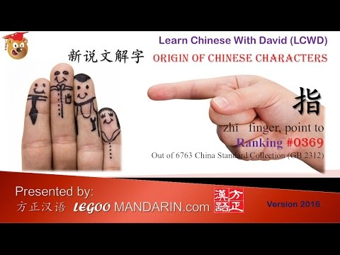 Origin of Chinese Characters - 0369 指 finger, point to - Learn Chinese with Flash Cards