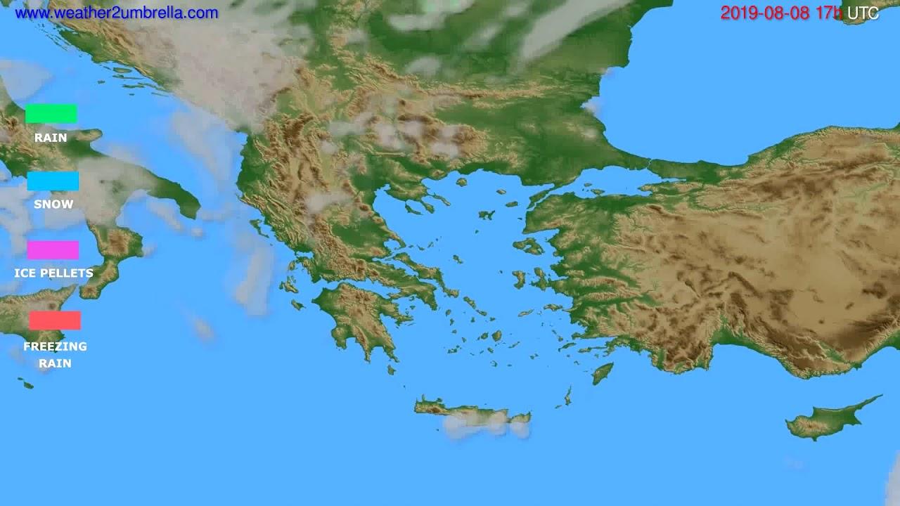 Precipitation forecast Greece // modelrun: 00h UTC 2019-08-07