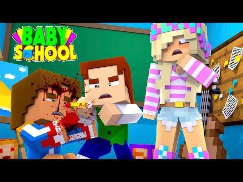 Minecraft BABY SCHOOL || SCHOOL BULLY STICKS A PENCIL IN BABY DONNY'S EYE BALL!!