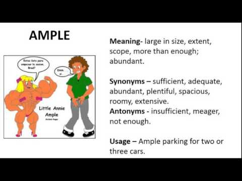 Vocabulary Made Easy  Meaning of Ample, Synonyms, Antonyms and its Usage