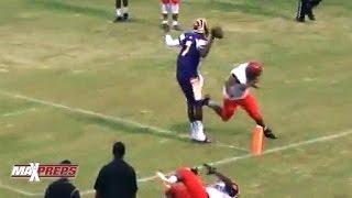 Louisville recruit Lamar Jackson walks into the end zone