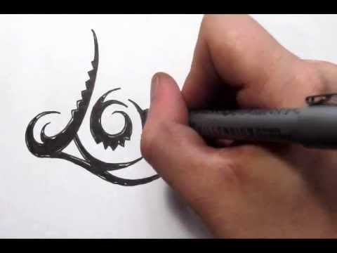 Word Tattoos – LOVE Design in Cool Tribal Writing