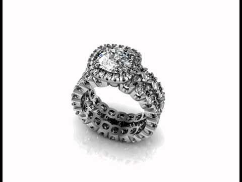 Custom Made Cushion Eternity Halo Engagement Ring Wedding Set
