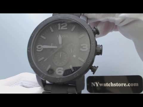 , title : 'Men's Fossil Nate Chronograph Blackout Watch JR1401'