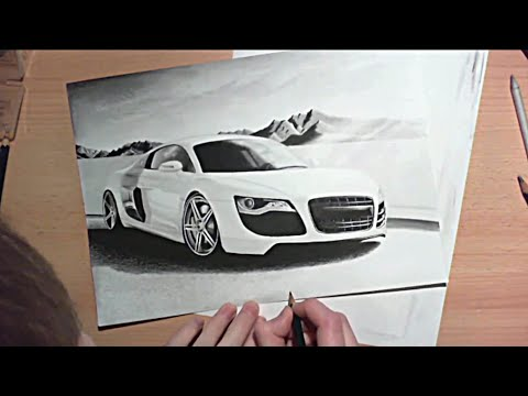 Audi R8 Speed Drawing realistic pencil car drawing tutorial Zeichnung