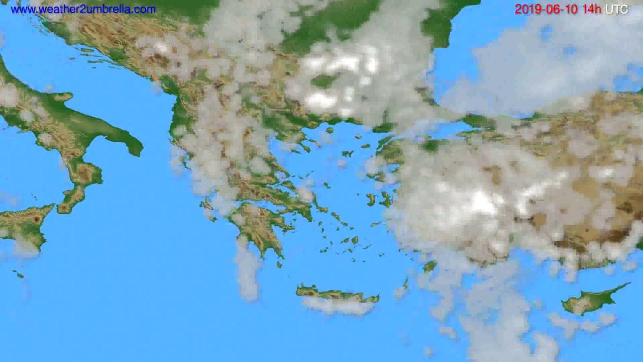 Cloud forecast Greece // modelrun: 12h UTC 2019-06-08