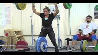 Weightlifting training footage of Catalyst weightlifters. Alyssa power clean + power jerk, Jessica power clean + power jerk, Kara snatch pull,