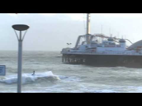 kite surfer - lewis crathern - jumping two piers in england brighton