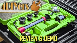 Product link: https://mobiledistributorsupply.com/27068-oemtools-universal-cooling-system-pressure-test-kit-oem.htmlVideo review on the universal cooling system pressure test kit from Mobile Distributor Supply. A link to this product will be included in the description below. This kit is made by OEM Tools, item number is 27068, comes in a hard plastic green case which neatly organizes all the tools needs to pressure test your coolant system. OEM Tools also has a limited lifetime on their tools, more details can be found on the product's page. As you can see in the kit, we have three expanding adapters which is designed to fit most vehicles, I will list the sizes further on in the video, includes pressure pump with gauge and cap, and fitting for the expanding adapters. Most of the components feature a chrome or anodized aluminum finish which is easy to keep clean and is protected against any corrosion. The threaded fittings are made of brass alloy which is resistance against corrosion as well.  Website: http://4diyers.comPatreon: https://www.patreon.com/4diyersFacebook: https://www.facebook.com/4diyersGoogle Plus: https://plus.google.com/+4DIYersTwitter: https://twitter.com/4DIYersInstagram: https://www.instagram.com/4diyers/Tumblr: http://4diyers.tumblr.comPintrest: https://www.pinterest.com/4diyers/Thank you to all those who watch my videos and support my content. Don't forget to subscribe to my channel for future tutorial videos and like my video if you found it helpful. New videos are always being uploaded every week!© 4DIYers 2013All Rights ReservedNo part of this video or any of its contents may be reproduced, copied, modified or adapted, without the prior written consent of the author.