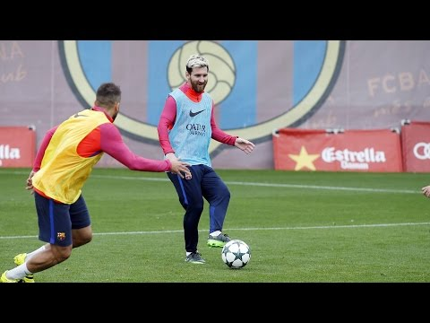 FC Barcelona training session: squad continues preparations for Manchester City