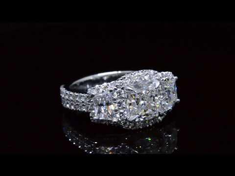 3.22 Ct. Halo Cushion & Trapezoid Diamond U-Setting Engagement Ring F,VS1 GIA