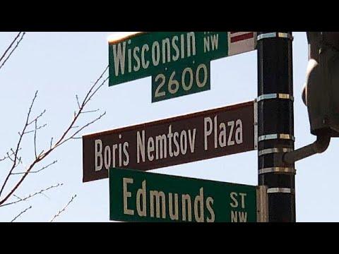 Russische Botschaft in Washington: Nemzow-Platz vor d ...