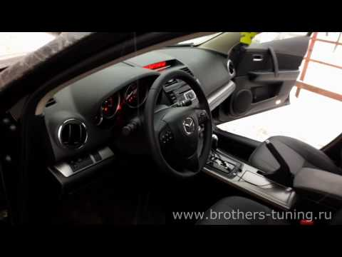 """Чехлы на Mazda 6 2 (седан), серии """"Alcantara"""" - серая строчка"""