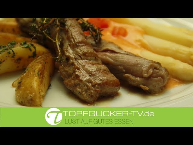 Lammfilet medium mit Spargel al dente und Sauce Choron und Kartoffeln