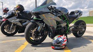 Kawasaki H2 vs Kawasaki ZX10R vs Yamaha R1 - Throwback