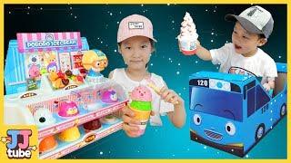 꼬마버스 타요 타고 마법의 뽀로로 아이스크림가게 요술봉 장난감 놀이 Pretend play with Ice cream Shop [제이제이 튜브-JJ tube]