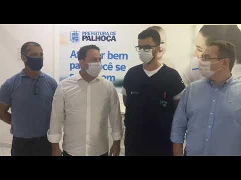 Autoridades de #Palhoça falam sobre primeiro dia de imunização